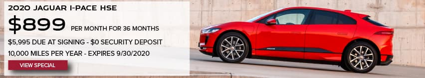 2020 JAGUAR I-PACE HSE. $899 PER MONTH. 36 MONTH LEASE TERM. $5,995 CASH DUE AT SIGNING. $0 SECURITY DEPOSIT. 10,000 MILES PER YEAR. EXCLUDES RETAILER FEES, TAXES, TITLE AND REGISTRATION FEES, PROCESSING FEE AND ANY EMISSION TESTING CHARGE. OFFER ENDS 9/30/2020. VIEW SPECIAL. RED JAGUAR I-PACE DRIVING DOWN ROAD.