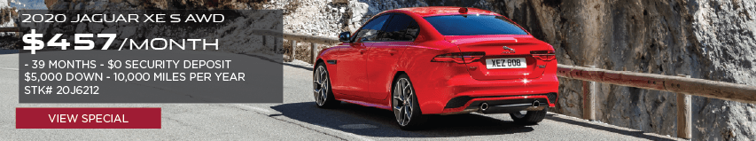 2020 JAGUAR XE S AWD. $457 PER MONTH. 39 MONTHS. $0 SECURITY DEPOSIT. $5,000 DOWN. 10,000 MILES PER YEAR STOCK NUMBER 20J6212. VIEW SPECIAL. RED JAGUAR XE DRIVING DOWN ROAD THROUGH MOUNTAIN RANGE.