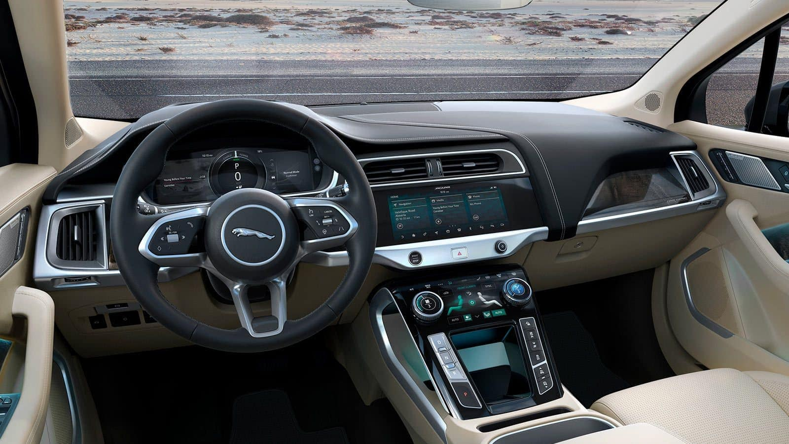 2019 Jaguar I-PACE interior in light tan with technology features