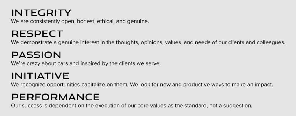 Jaguar Hinsdale Core Values
