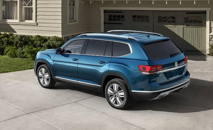2019 Volkswagen Atlas parked in front of garage