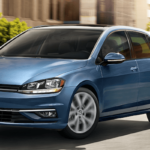 2019 Volkswagen Golf in Blue on the Road