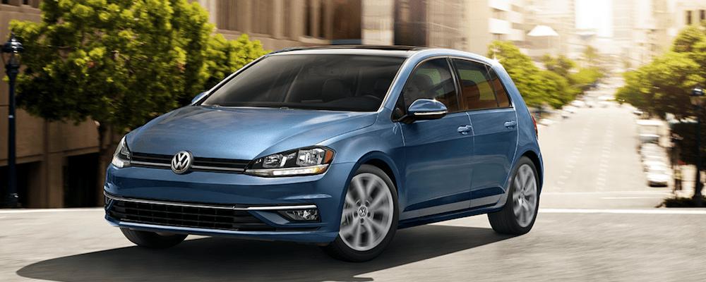 2019 Volkswagen Golf in Blue on the Road