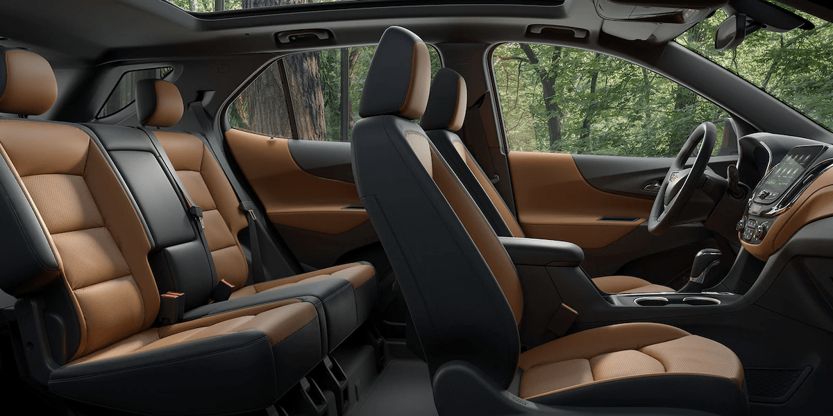 2019 Chevy Equinox interior in tan and black leather