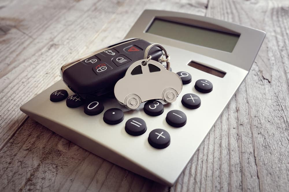Car keys on top of calculator