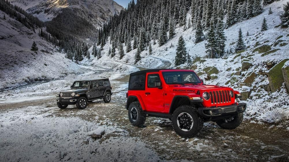 2019 Jeep Wrangler and Wrangler Unlimited driving on unpaved path