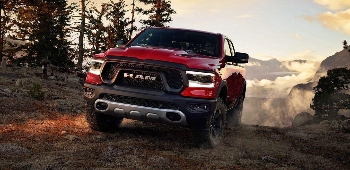 2019 RAM 1500 exterior in red on mountain