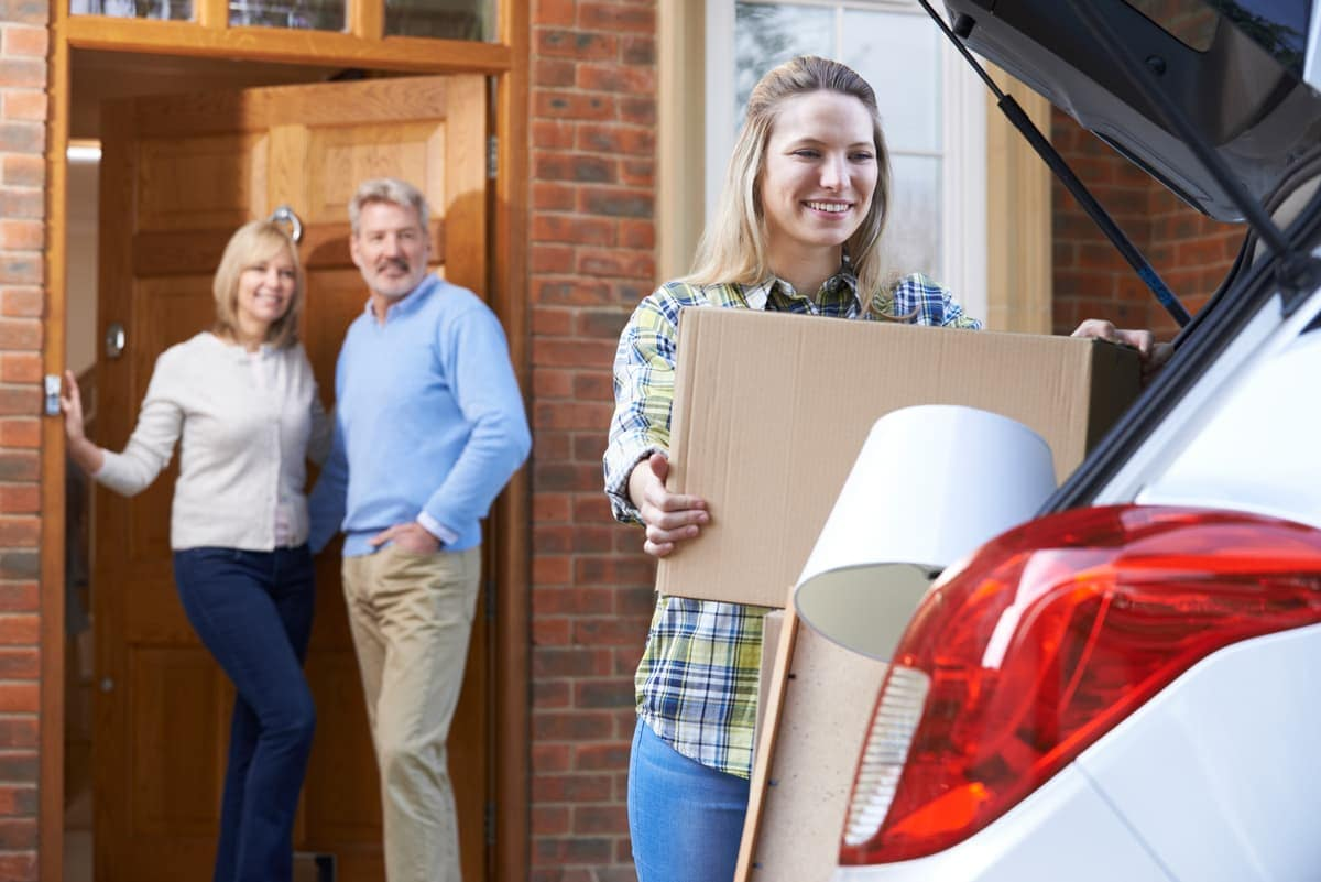 Student packs car for college