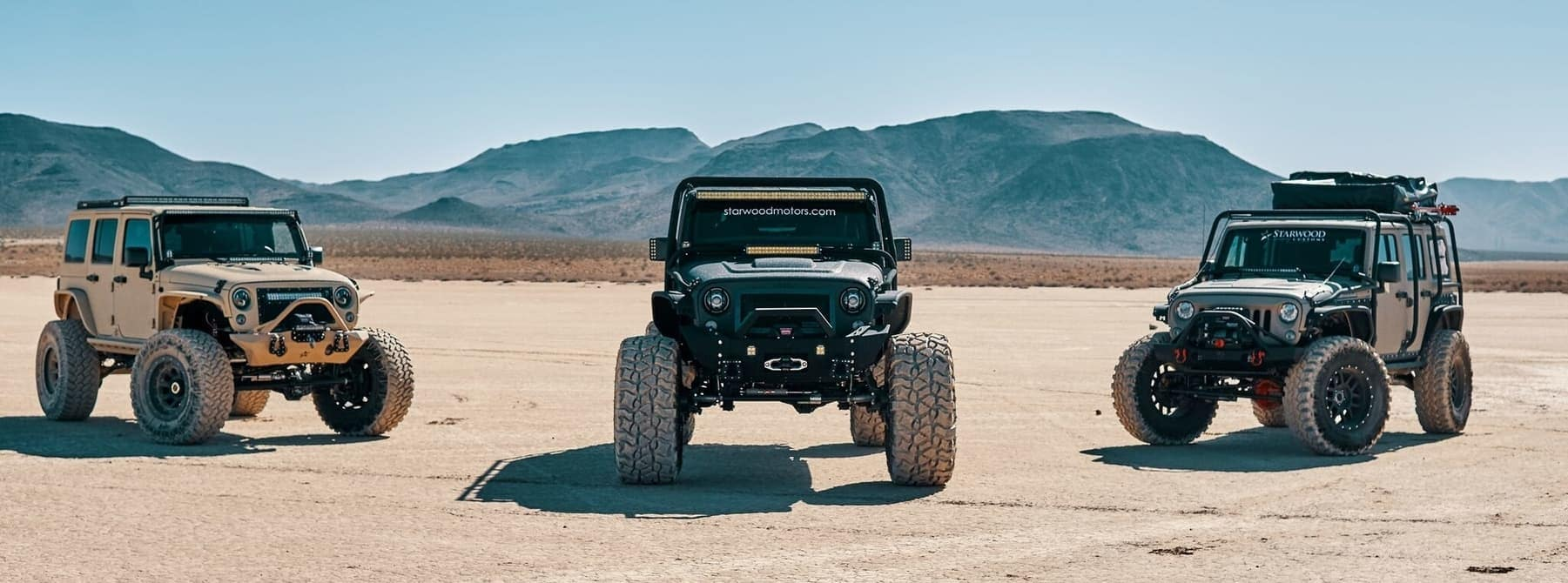 Starwood Motors custom jeep lineup of lifted jeeps