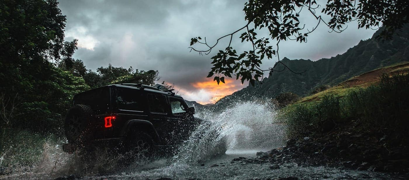2020 Jeep Wrangler driving through water