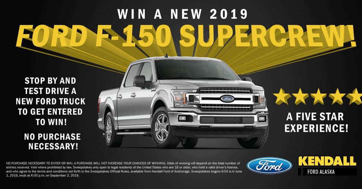 Win a FREE 2019 Ford F-150 in Alaska | Kendall Auto Alaska