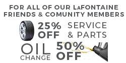 LaFontaine Service Community Offers 25% off of Service and Parts
