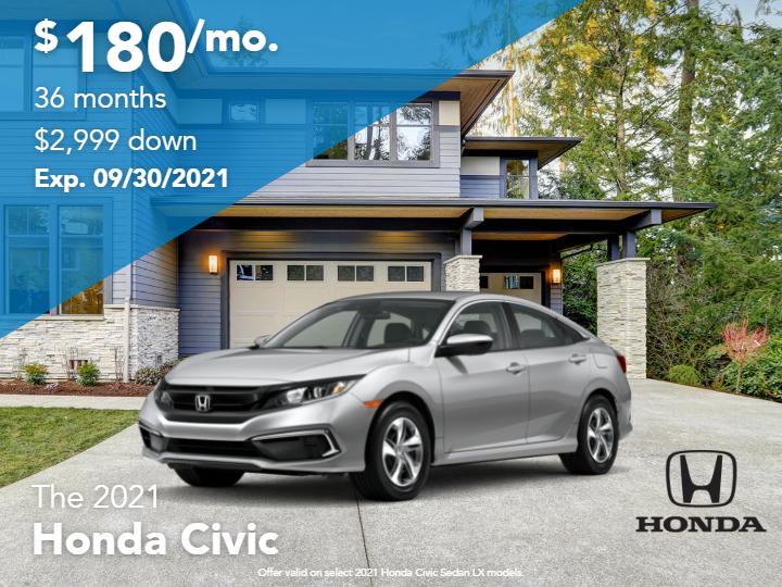 New 2021 Honda Civic LX FWD 4D Sedan