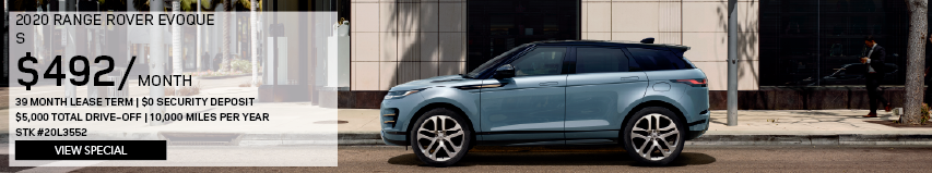 2020 RANGE ROVER EVOQUE S_$492 PER MONTH_39 MONTH LEASE TERM_$0 SECURITY DEPOSIT_$5,000 TOTAL DRIVE OFF_10,000 MILES PER YEAR_STOCK NUMBER 20L3552_VIEW SPECIAL_OFFER ENDS 1/31/2020_SEE DEALERSHIP FOR COMPLETE DETAILS_LIGHT BLUE RANGE ROVER EVOQUE DRIVING THROUGH CITY