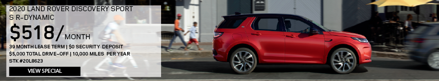 2020 LAND ROVER DISCOVERY SPORT S R-DYNAMIC_$518 PER MONTH_39 MONTH LEASE TERM_$0 SECURITY DEPOSIT_$5,000 TOTAL DRIVE OFF_10,000 MILES PER YEAR_STOCK NUMBER 20L8623_VIEW SPECIAL_OFFER ENDS 1/31/2020_SEE DEALERSHIP FOR COMPLETE DETAILS_RED DISCOVERY SPORT DRIVING THROUGH CITY