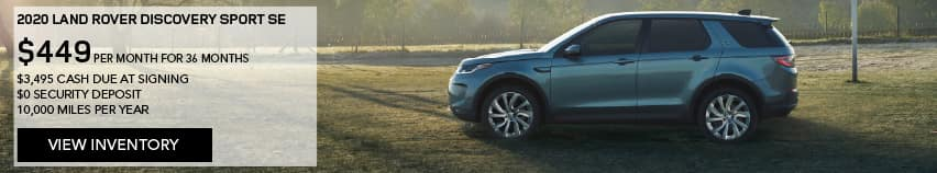 2020 LAND ROVER DISCOVERY SPORT SE. $449 PER MONTH. 36 MONTH LEASE TERM. $3,495 CASH DUE AT SIGNING. $0 SECURITY DEPOSIT. 10,000 MILES PER YEAR. EXCLUDES RETAILER FEES, TAXES, TITLE AND REGISTRATION FEES, PROCESSING FEE AND ANY EMISSION TESTING CHARGE. ENDS 8/31/2020. VIEW INVENTORY. BLUE DISCOVERY SPORT PARKED ON A FOOTBALL FIELD.
