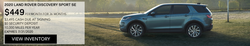 2020 LAND ROVER DISCOVERY SPORT SE. $449 PER MONTH. 36 MONTH LEASE TERM. $3,495 CASH DUE AT SIGNING. $0 SECURITY DEPOSIT. 10,000 MILES PER YEAR. EXCLUDES RETAILER FEES, TAXES, TITLE AND REGISTRATION FEES, PROCESSING FEE AND ANY EMISSION TESTING CHARGE. ENDS 7/31/2020. VIEW INVENTORY. BLUE DISCOVERY SPORT PARKED ON A FOOTBALL FIELD.