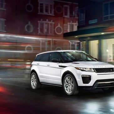 2019 Range Rover Evoque driving at night