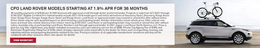 CPO Land Rover Models Starting At 1.9% APR For Up To 36 Months