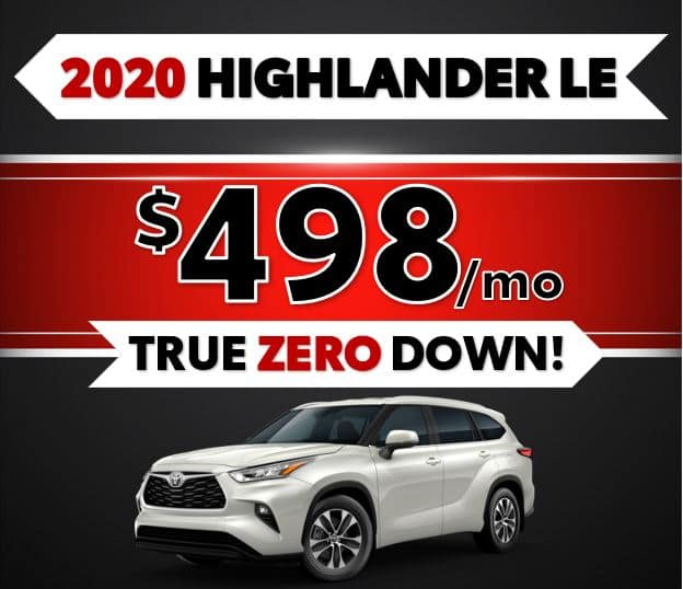 2020 Toyota Highlander LE Black Friday Sale at Lost Pines Toyota