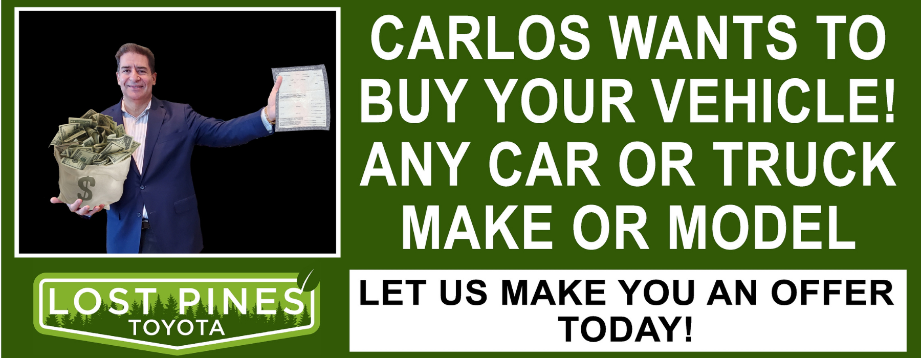 Carlos wants to buy your vehicle web banner