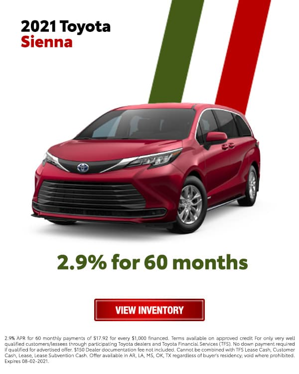 2021 Toyota Sienna for 2.9% for 60 Months