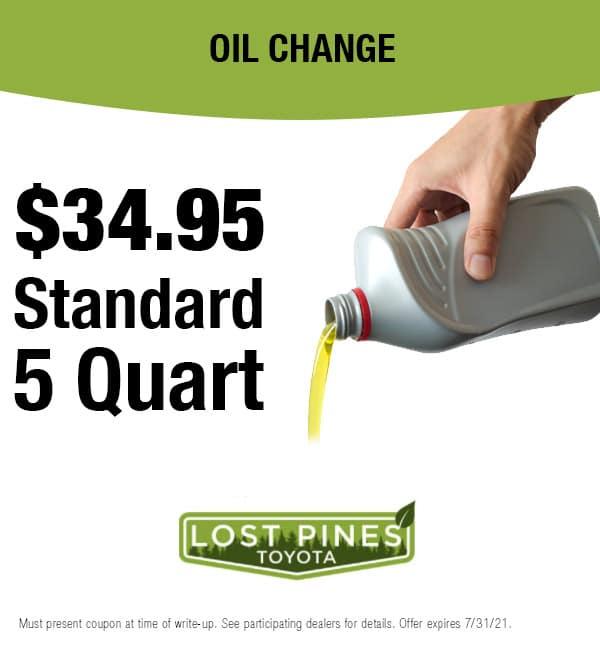 $34.95 Standard 5 Quart Oil Change