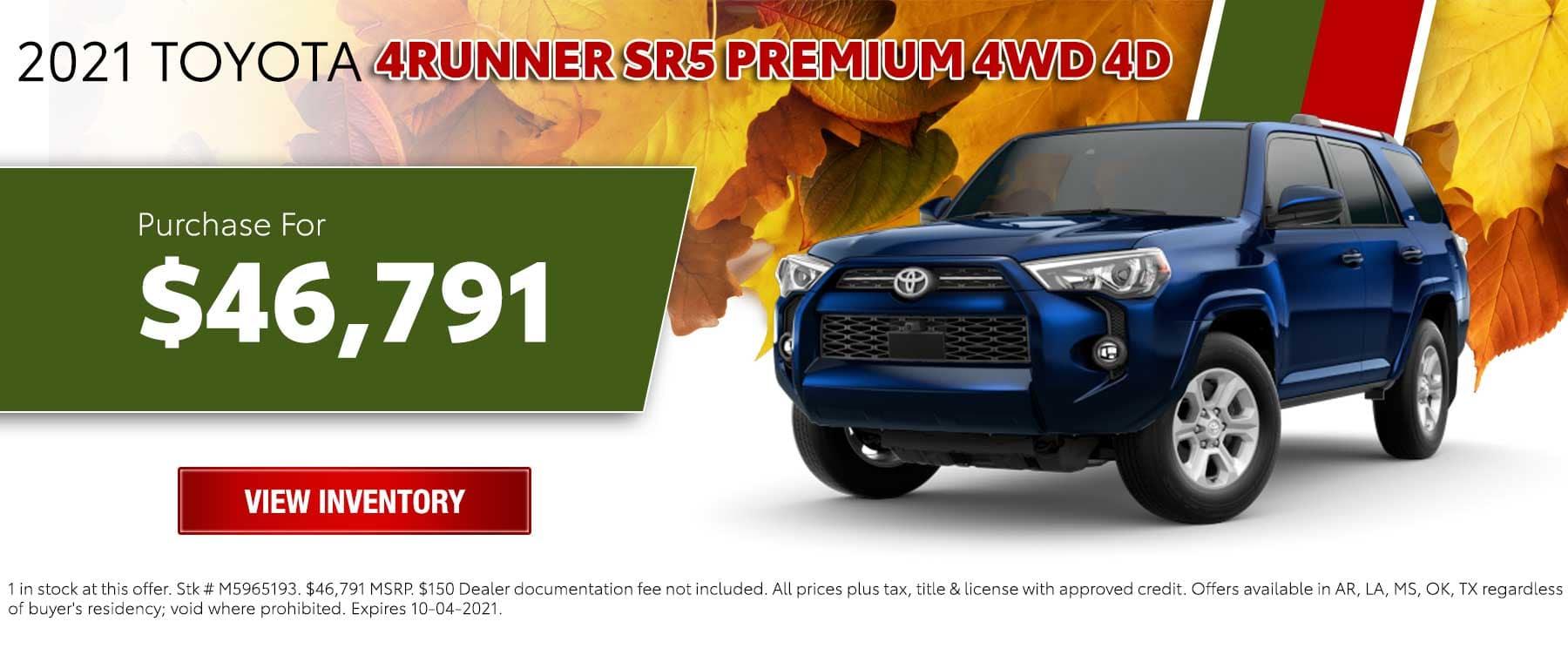 New 2021 Toyota 4Runner SR5 Premium 4WD 4D