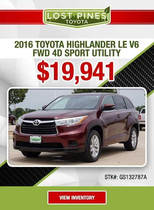2016 Toyota Highlander LE V6 FWD 4D Sport Utility