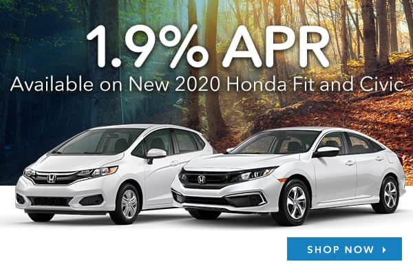 1.9% APR Available on New 2020 Honda Fit and Civic