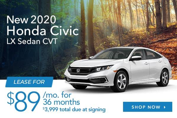 New 2020 Honda Civic LX Sedan CVT