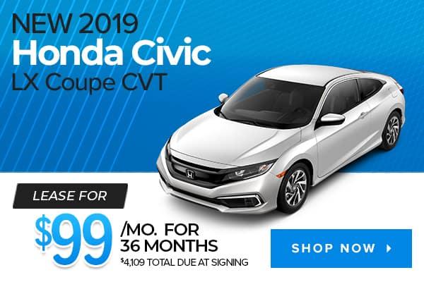 New 2019 Honda Civic LX Coupe CVT
