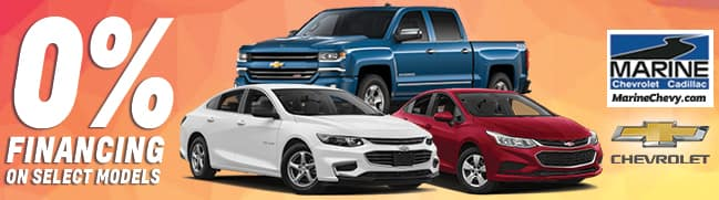 Marine Chevy zero percent financing available for select models