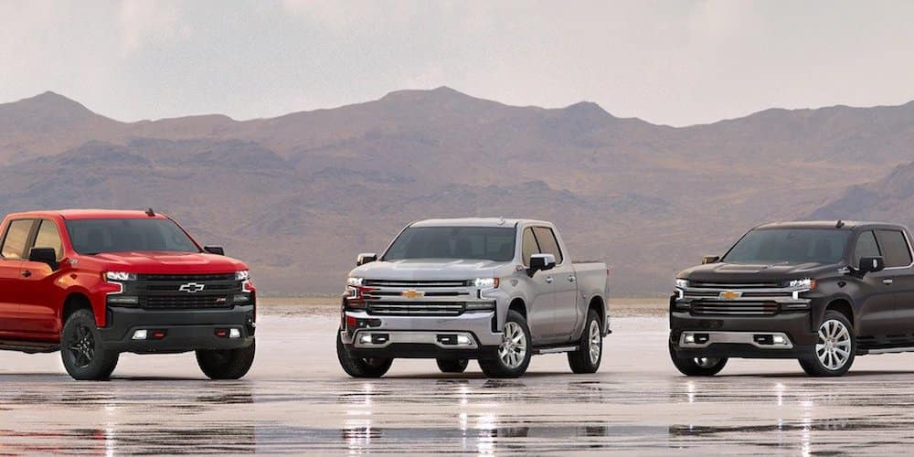 2019 silverado models in a row