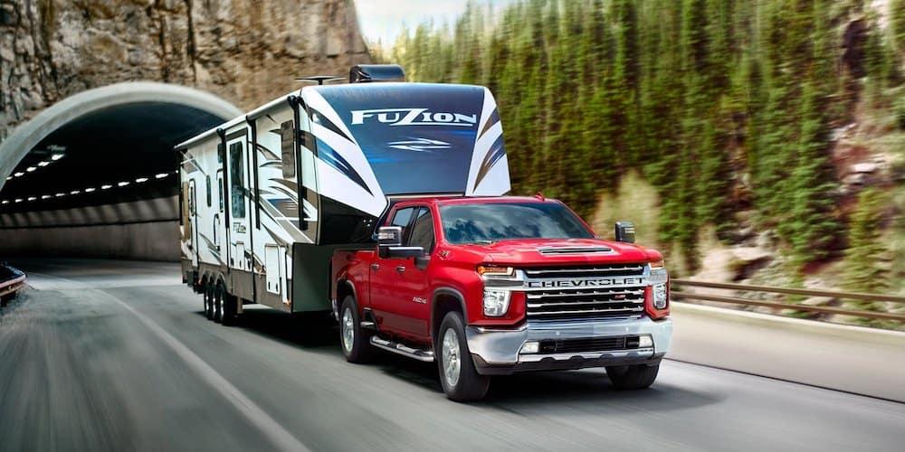 Red 2020 Silverado HD Towing Trailer