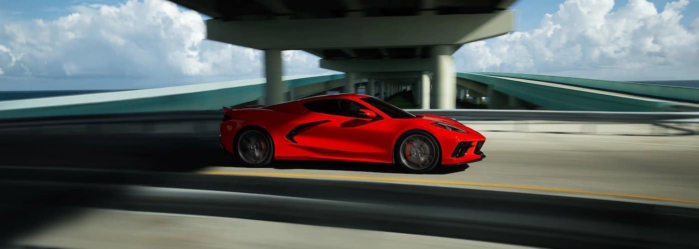 Red 2020 Chevy Corvette on Highway