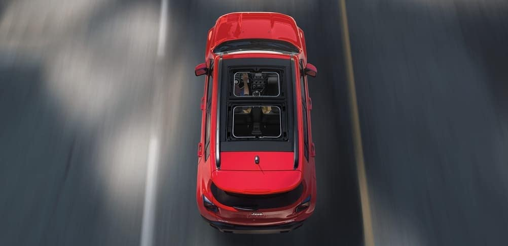 2019 Jeep Renegade in red aerial view