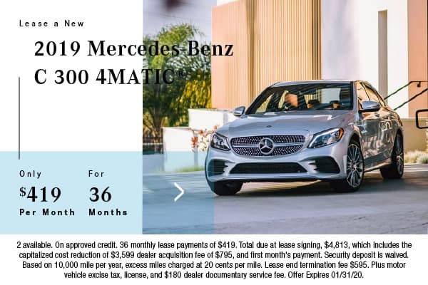 2019 Mercedes-Benz C 300 4Matic Lease $419 for 36 Mos.
