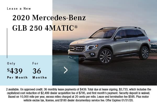 2020 Mercedes-Benz GLB 250 4Matic Lease $439 for 36 Mos.