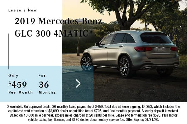 2019 Mercedes-Benz GLC 300 4Matic Lease $459 for 36 Mos.