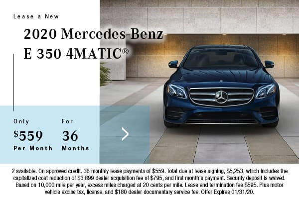 2020 Mercedes-Benz E 350 4Matic Lease $559 for 36 Mos.