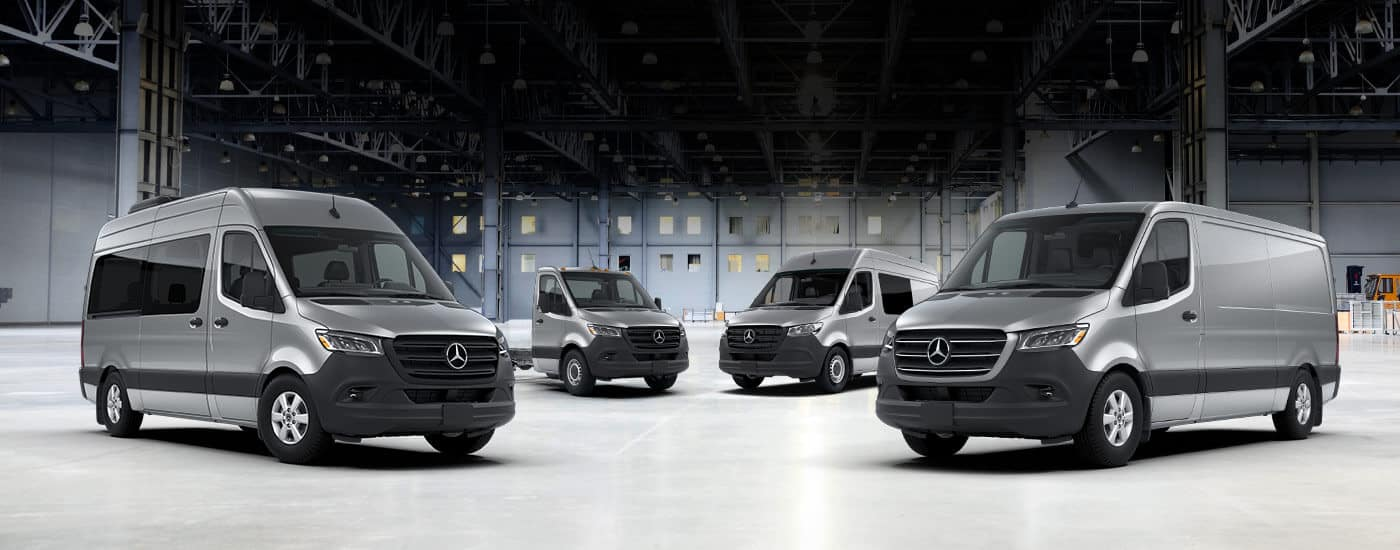 2020 Mercedes-Benz Sprinter and Metris lineup in garage