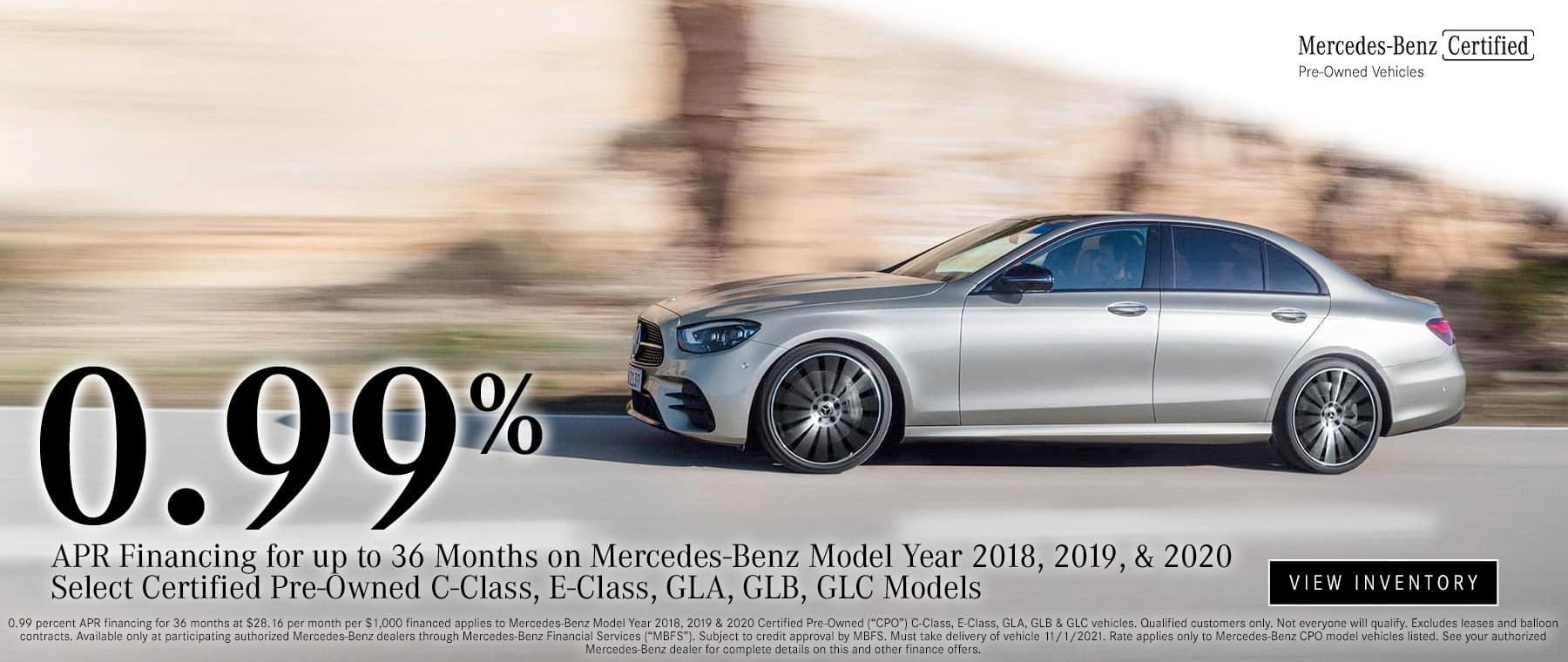 0.99% APR Financing at Mercedes Benz of South Mississippi until 11/1/2021