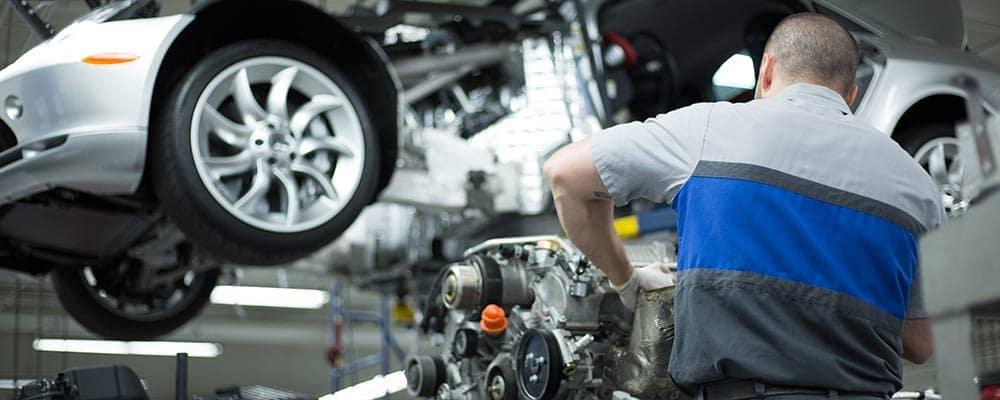 Mercedes-Benz service center working on engine