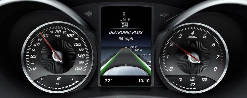 Mercedes-benz distronic system in action on the dash