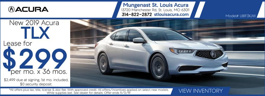 Lease a 2019 Acura TLX for $299/mo. for 36 mos.