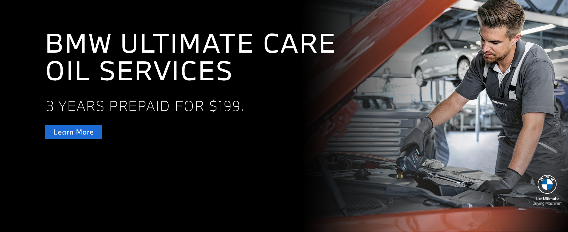 3 Years of Prepaid Oil Services for just $199, the BMW Ultimate Care Oil Services Package available at Otto's BMW.