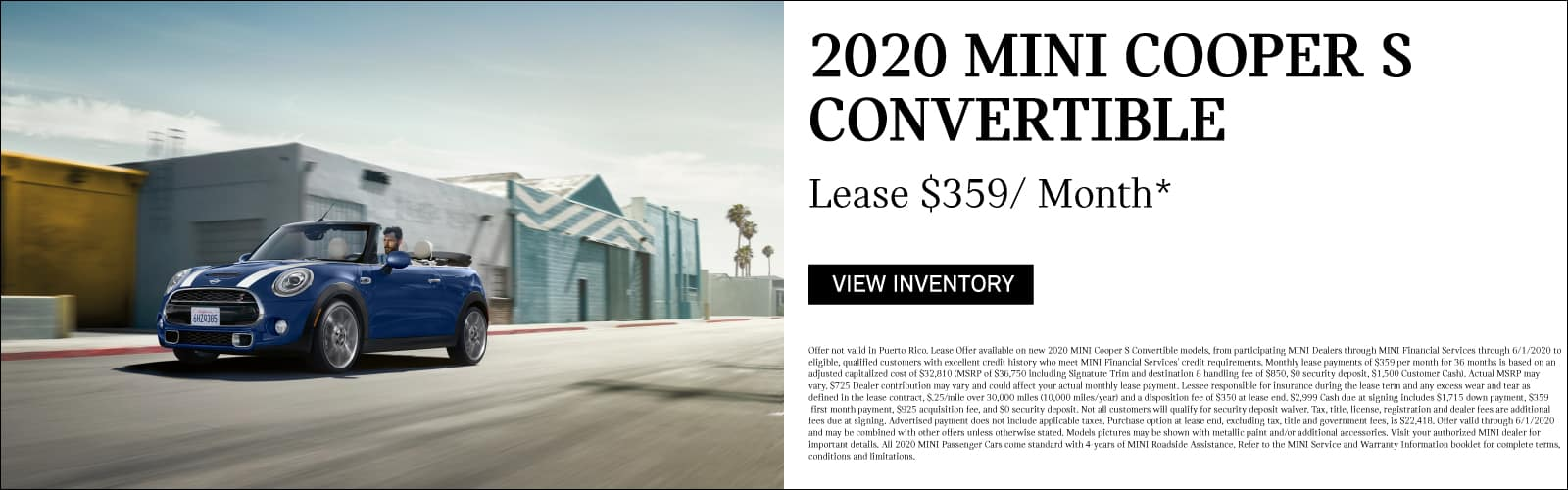2020 MINI Cooper S Convertible. Lease for $359/ Month.