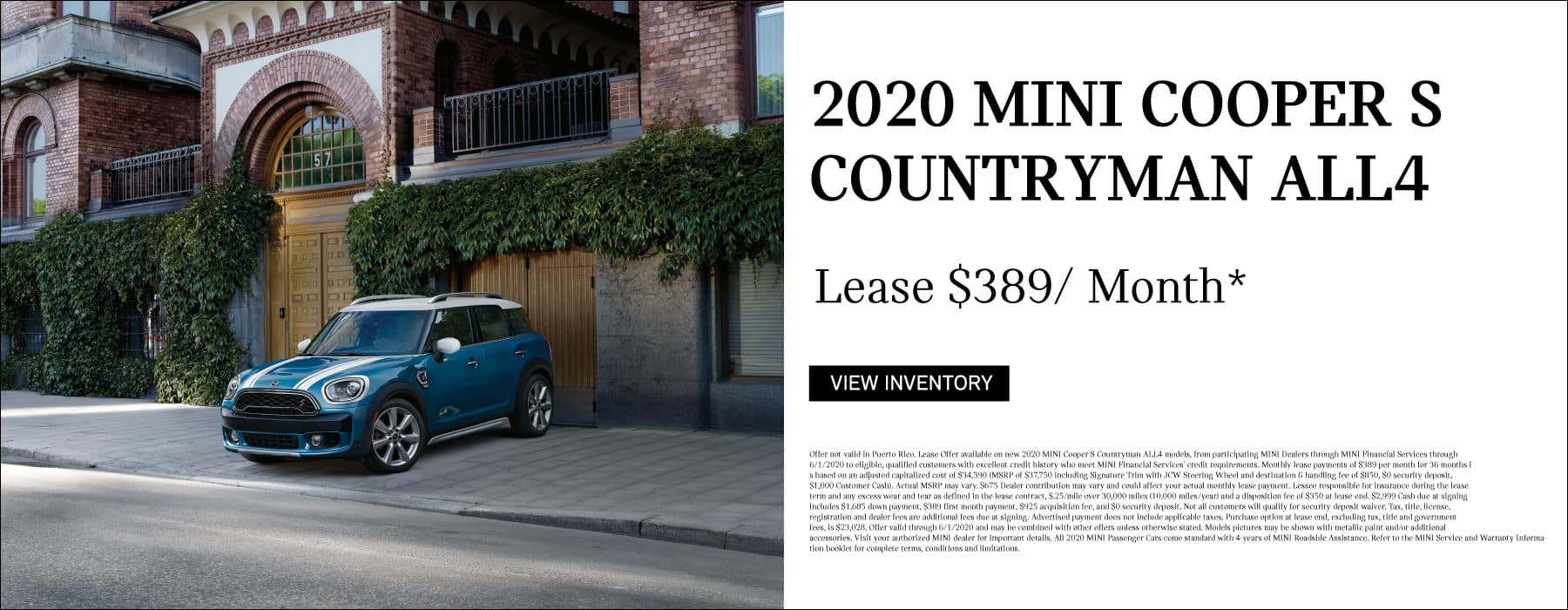 2020 MINI Cooper S Countryman ALL4. Lease for $389/ Month