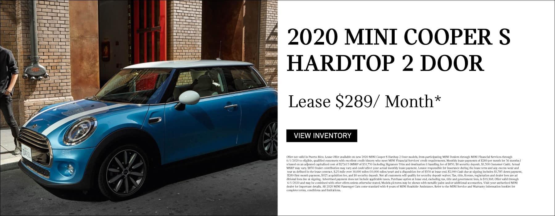 2020 MINI Cooper S Hardtop 2 Door. Lease for $289/ Month